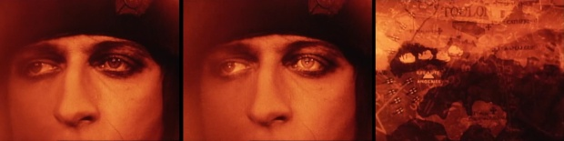 Gance takes a novel approach to showcasing Napoleon's tactical genius. The director draws in on Napoleon's face and light flashes upon his eyes before maps flash with troop movements and equations (presumably related to artillery trajectories). It has the feel of what modern films do in scenes involving computers or robots. (click to embiggen)
